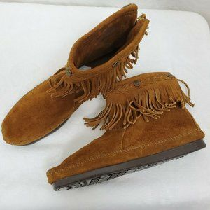 Minnetonka 8.5 Suede Leather Booties Shoes Fringe